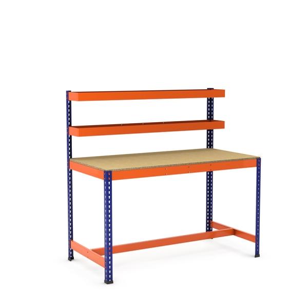 Établi avec panier supérieur et repose-pieds bleu et orange tablette aggloméré