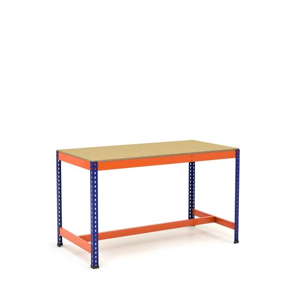Établi avec repose-pieds bleu et orange avec tablette aggloméré