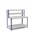 Établi avec étagère et plateau bleu et gris 2 plateaux mélaminé (chant brut sans mélaminé)