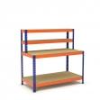 Établi avec étagère et plateau bleu et orange 2 plateaux tablette aggloméré