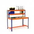 Établi avec étagère et repose-pieds bleu et orange tablette aggloméré