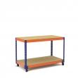 Établi avec roues bleu et orange 2 plateaux tablette aggloméré