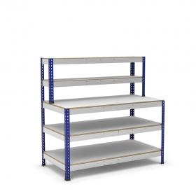 Établi avec étagère et plateau bleu et gris 3 plateaux mélaminé (chant brut sans mélaminé)
