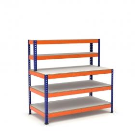 Établi avec étagère et plateau bleu et orange 3 plateaux mélaminé (chant brut sans mélaminé)