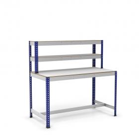 Établi avec étagère et repose-pieds bleu et gris tablette mélaminé (chant brut sans mélaminé)