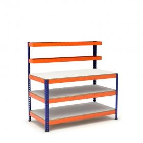 Établi avec panier supérieur et 3 plateaux bleu et orange tablette mélaminé (chant brut sans mélaminé)