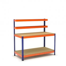 Établi avec panier supérieur et plateau inférieur bleu et orange tablette aggloméré