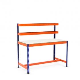 Établi avec panier supérieur et repose-pieds bleu et orange tablette mélaminé (chant brut sans mélaminé)