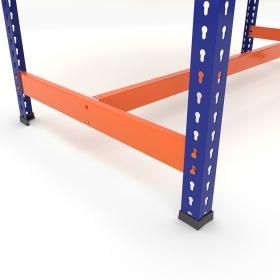 Établi avec repose-pieds bleu et orange - Détails