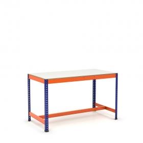 Établi avec repose-pieds bleu et orange avec tablette mélaminé (chant brut sans mélaminé)