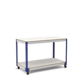 Établi avec roues bleu et gris 2 plateaux tablette mélaminé (chant brut sans mélaminé)