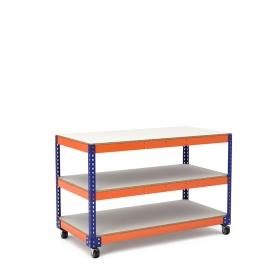 Établi avec roues bleu et orange 3 plateaux tablette mélaminé (chant brut sans mélaminé)