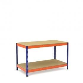 Établi bleu et orange avec 2 plateaus tablette aggloméré