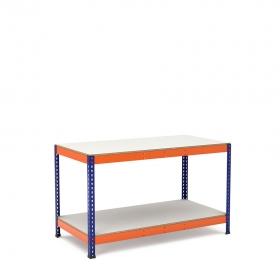 Établi bleu et orange avec 2 plateaus tablette mélaminé (chant brut sans mélaminé)