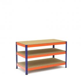 Établi bleu et orange avec 3 plateaus tablette aggloméré